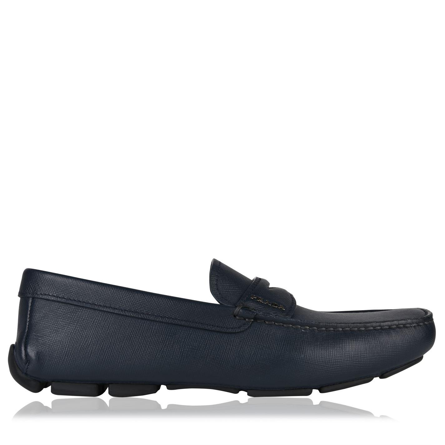 8fcca301fc9 Lyst - Prada Saffiano Leather Loafers in Blue for Men