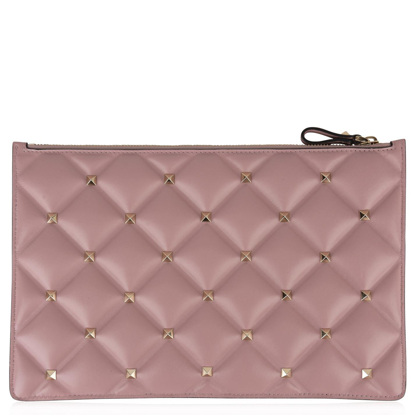 fc3faa27df Lyst - Valentino Candystud Clutch Pouch in Pink