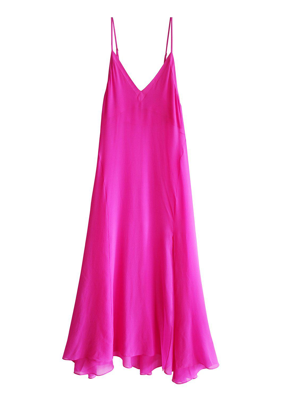 e57d6155bb9da6 Lyst - Fleur du Mal Full Sweep Silk Slip Dress in Pink