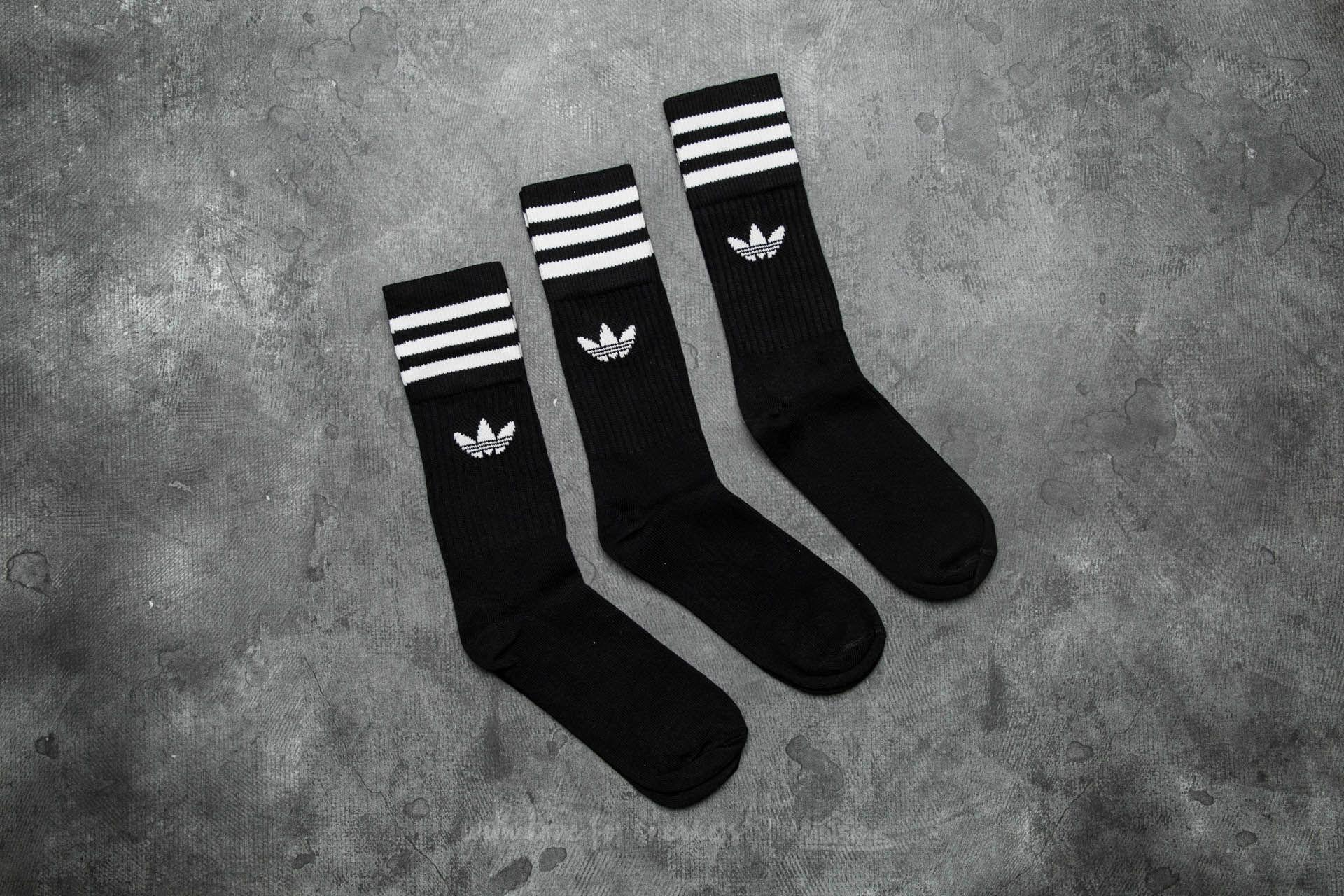 780861557 adidas Originals Adidas Solid Crew Sock 3 Pack Black/ White in Black ...