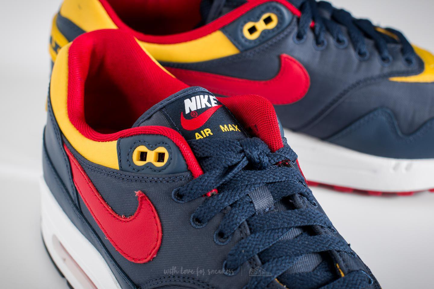 new styles dbe50 fa333 Nike Air Max 1 Premium Navy  Gym Red-vivid Sulfur for Men - Lyst