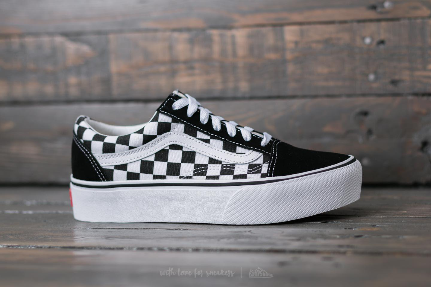 lyst vans old skool platform checkerboard black true