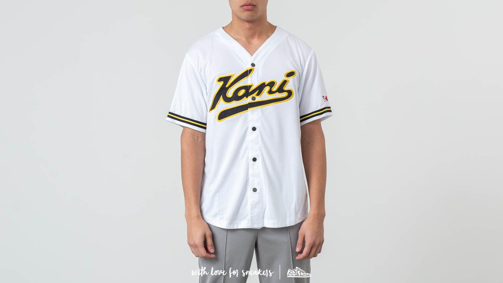 a149c62096 Footshop - Karl Kani College Baseball Shirt White  Navy  Yellow for Men -  Lyst. View fullscreen