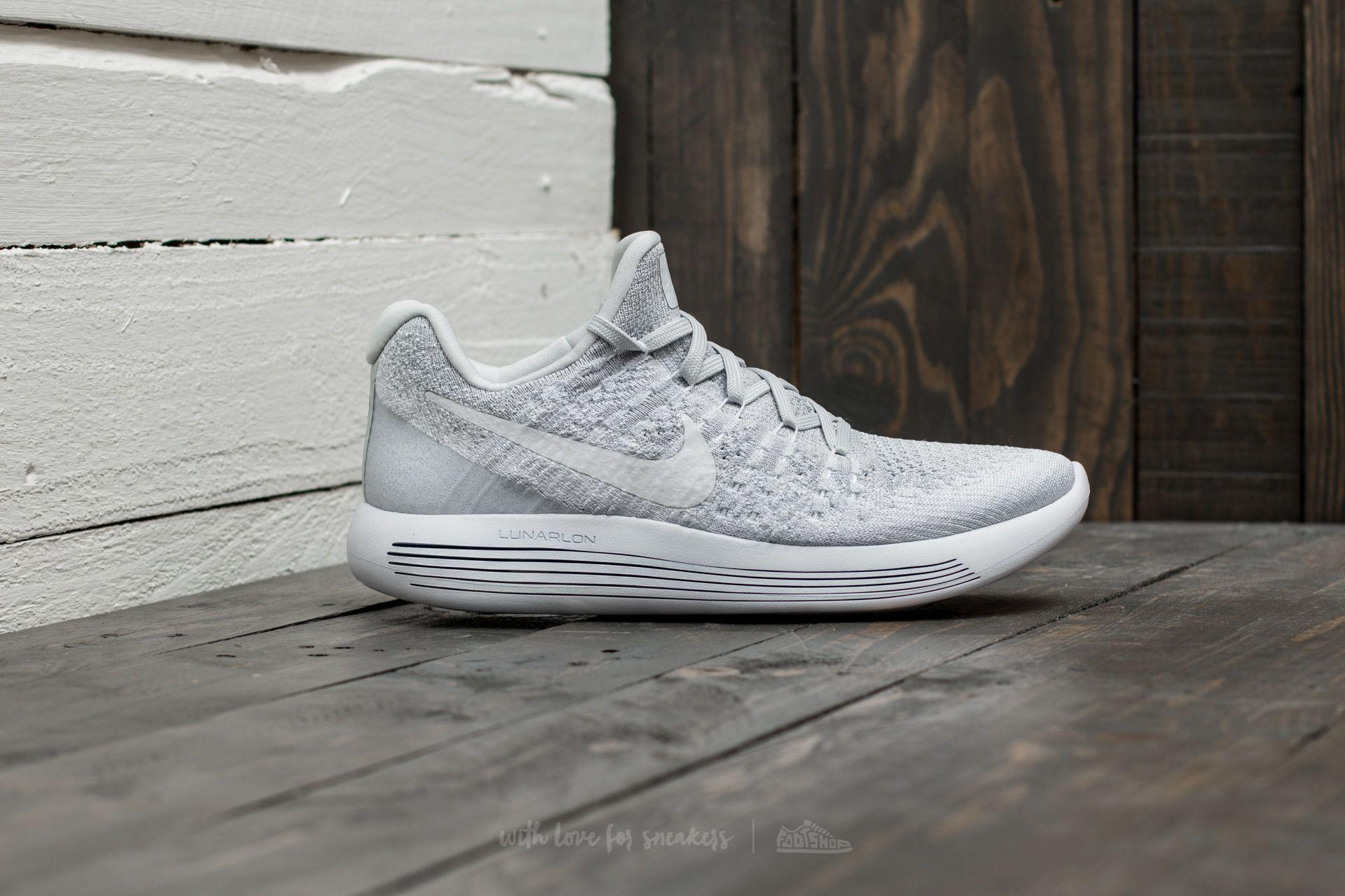 7a4d82522c4f ... good lyst nike lunarepic low flyknit 2 w white white pure platinum in  8e78f 46f1d