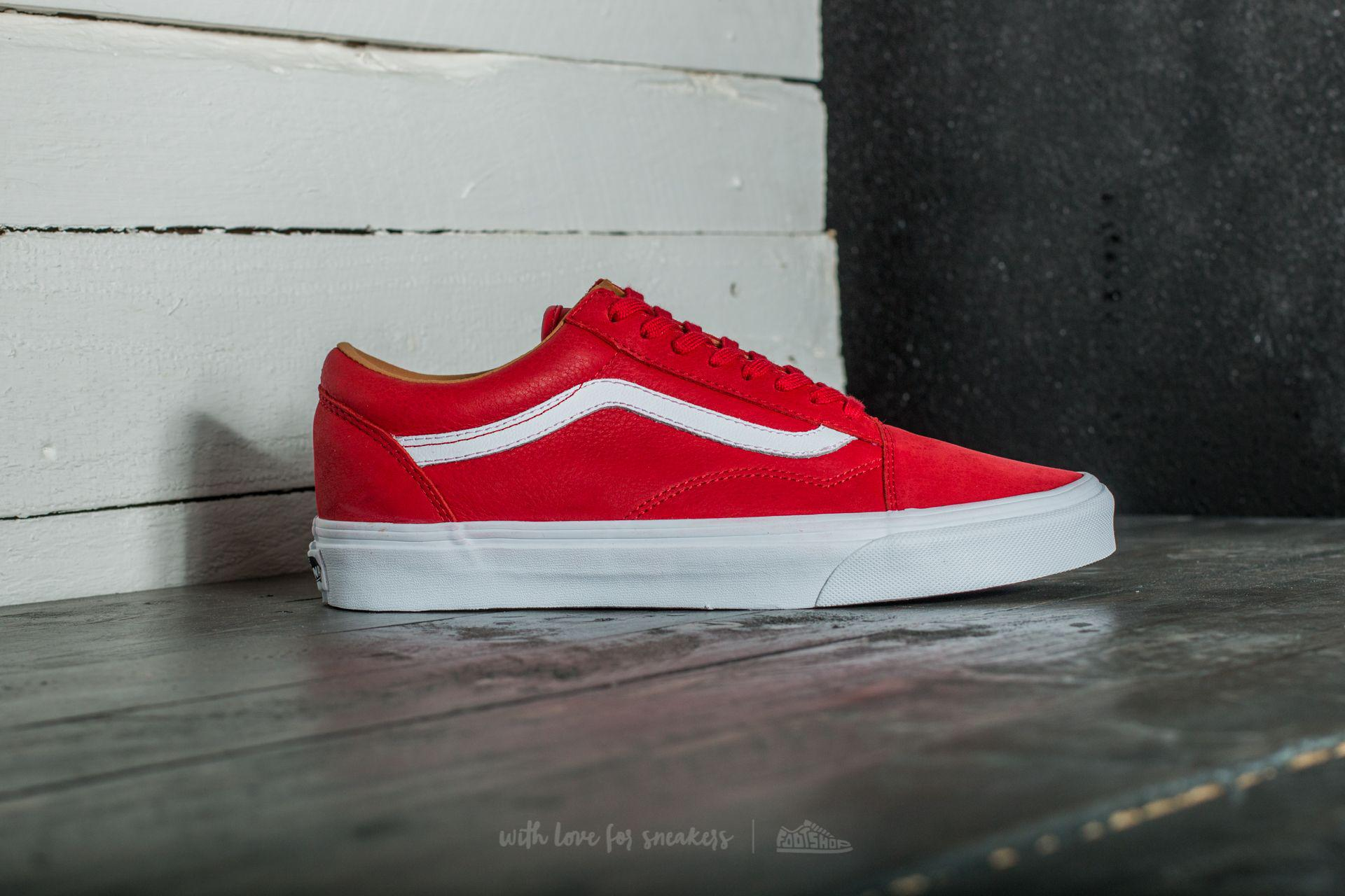 c9ce7bbb09d0fd Lyst - Vans Old Skool (premium Leather) Racing Red  True White in ...