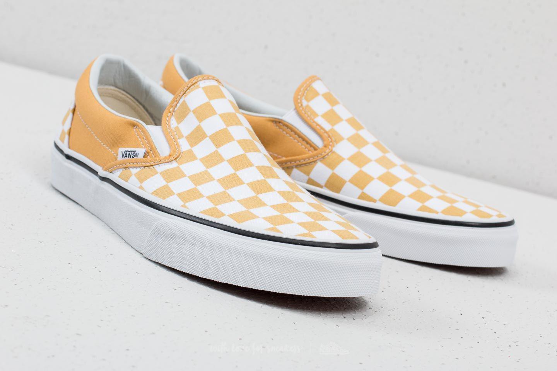 8cd74579924cdd Lyst - Vans Classic Slip-on (checkerboard) Ochre  True White in White