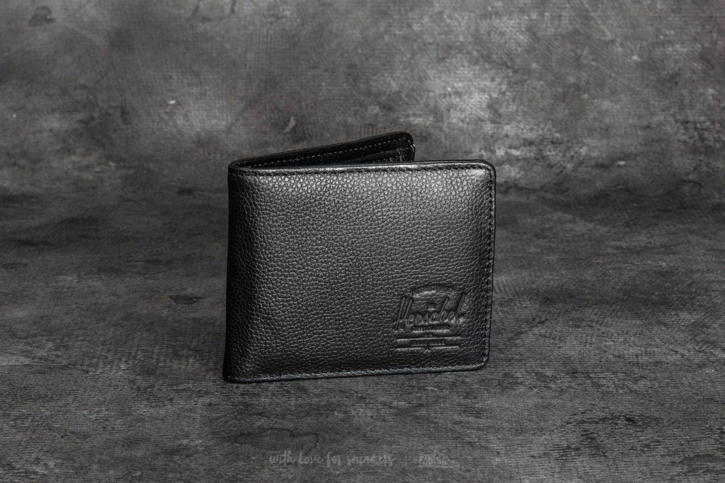 8546e6282ca6 Lyst - Herschel Supply Co. Hank + Coin Wallet Black Pebbled Leather ...