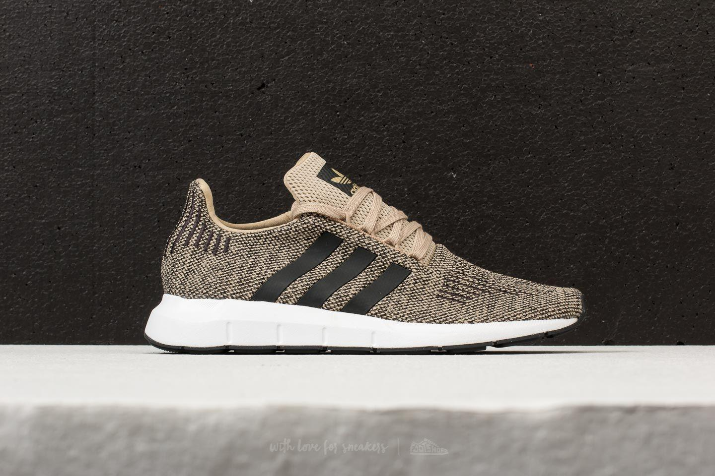 adidas Originals SWIFT RUN - Trainers - raw gold/core black/footwear white