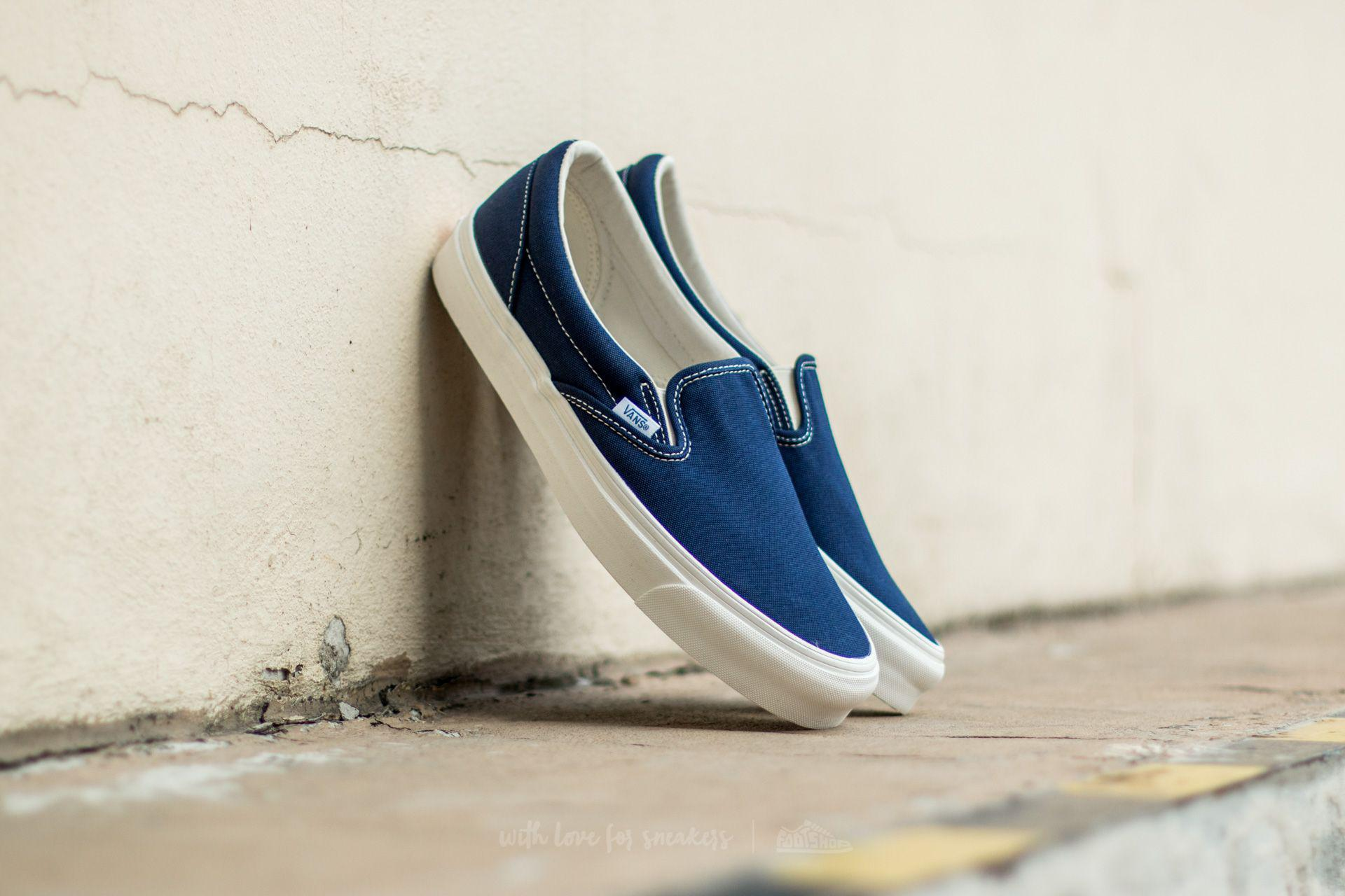 Lyst - Vans Og Classic Slip-on Canvas Peacoat in Blue for Men 00e9aae677