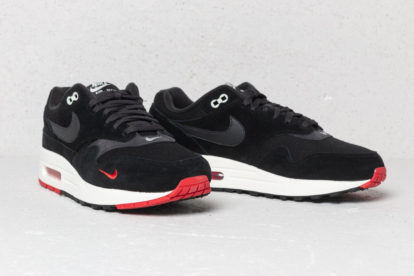 save off 8a840 f38ee Nike Air Max 1 Premium Black  Oil Grey-university Red in Black for ...