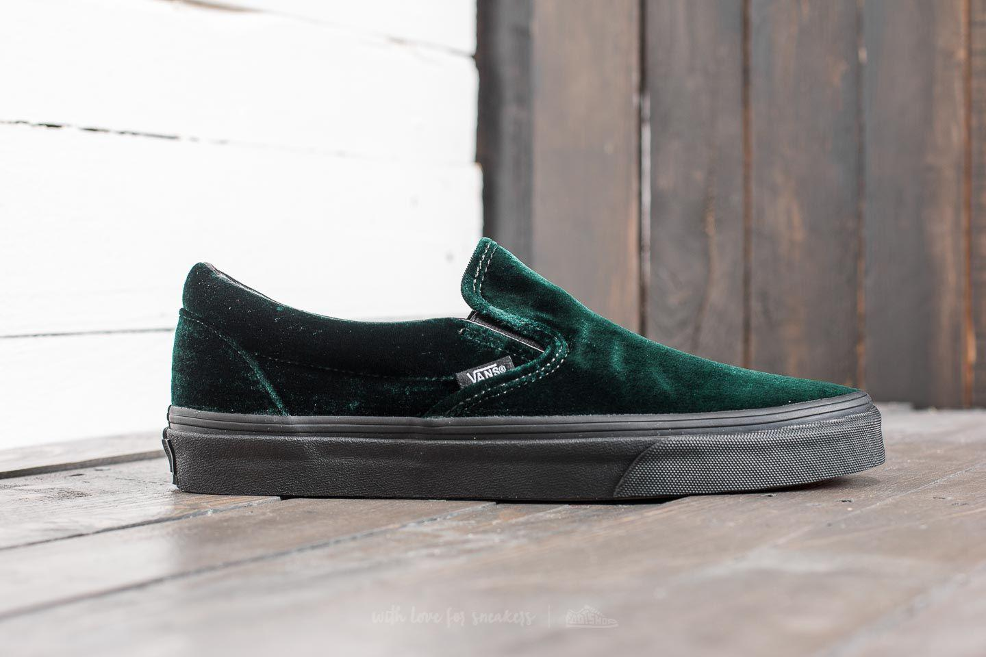 72556a09d89b6f Lyst - Vans Classic Slip-on (velvet) Green  Black for Men