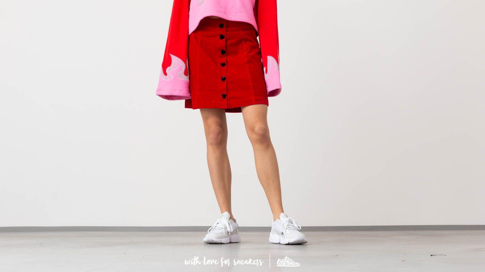 f357eceaf0 Lyst - Lazy Oaf Heart Button Velvet Skirt Red in Red