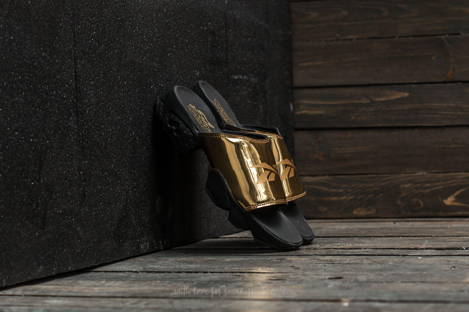 bff517af0349d Lyst - Reebok Reebok Fury Slide Magic Hour Gold Metal  Black  White ...
