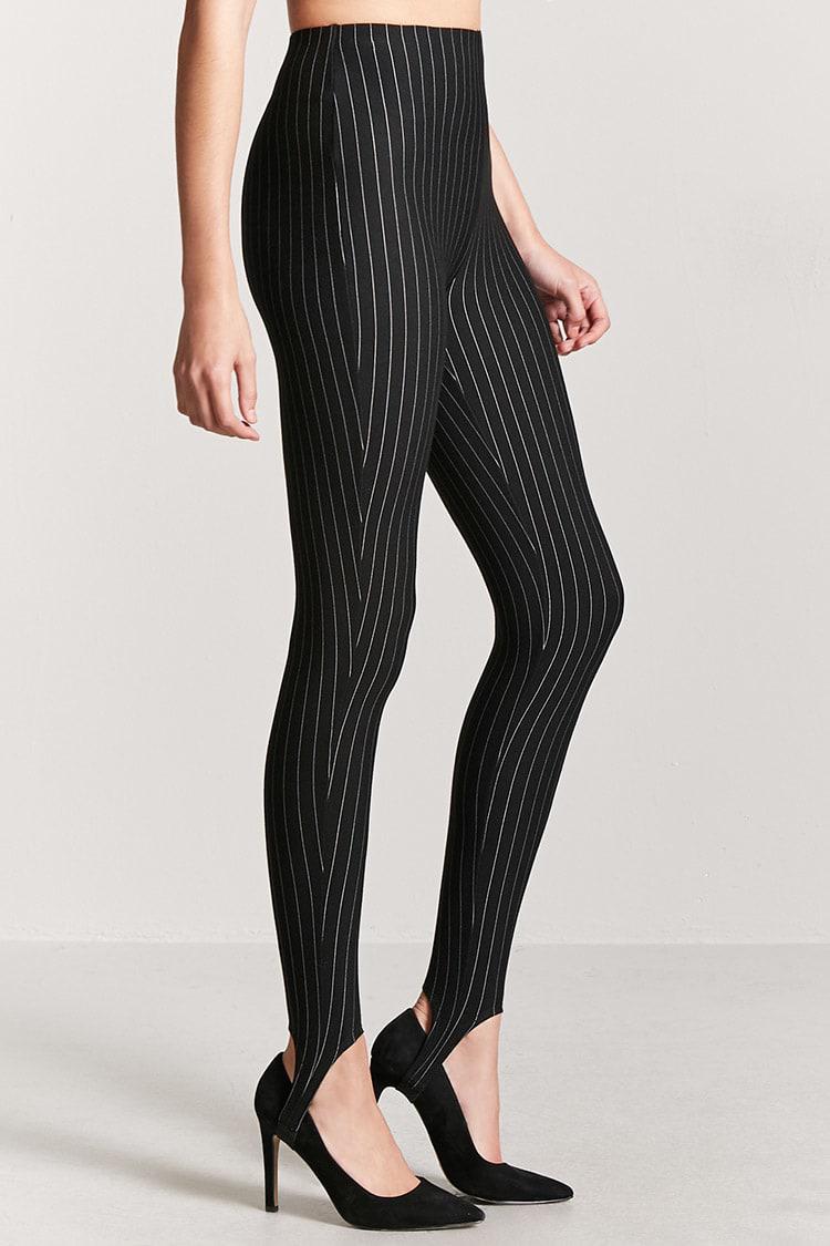 3eff05cc074 Lyst - Forever 21 Pinstriped Stirrup Leggings in Black