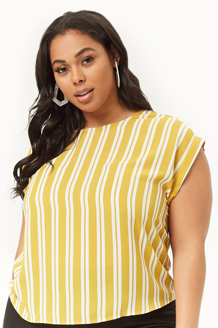 0b7b661017e5c2 Forever 21 Women's Plus Size Striped Chiffon Top in Yellow - Lyst