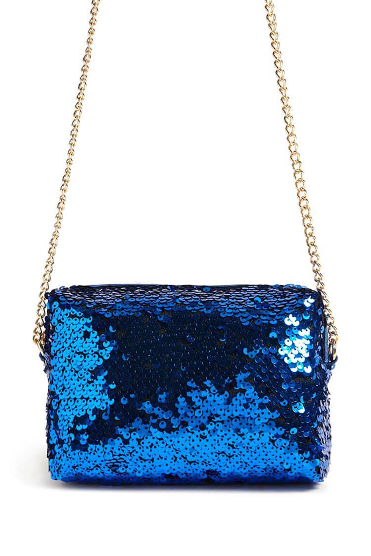 Forever 21 Women S Blue Sequin Crossbody Bag