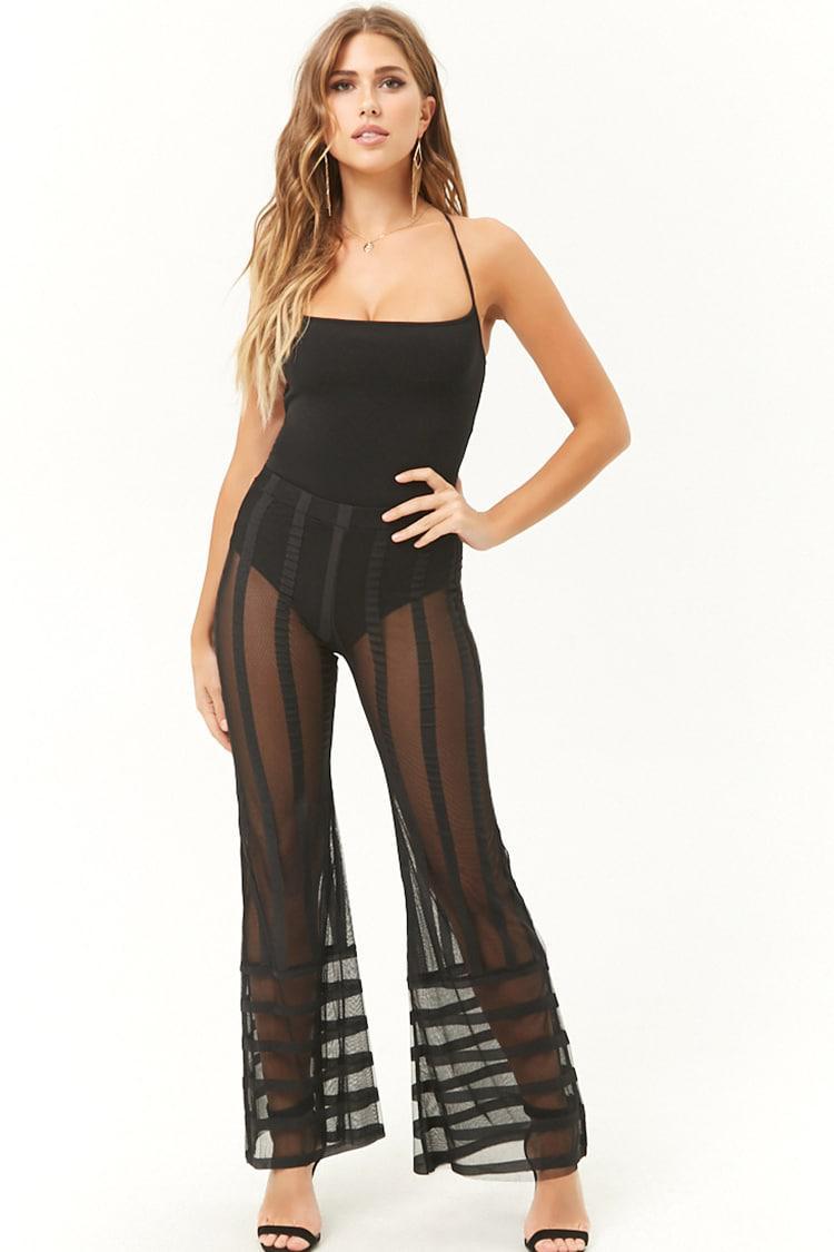 a40f2f7e09c4d1 Lyst - Forever 21 Kikiriki Sheer Mesh Striped Flare Pants in Black
