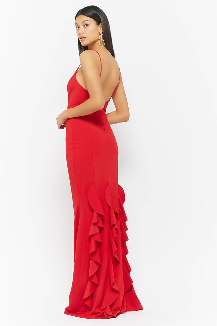 column ruffle dress