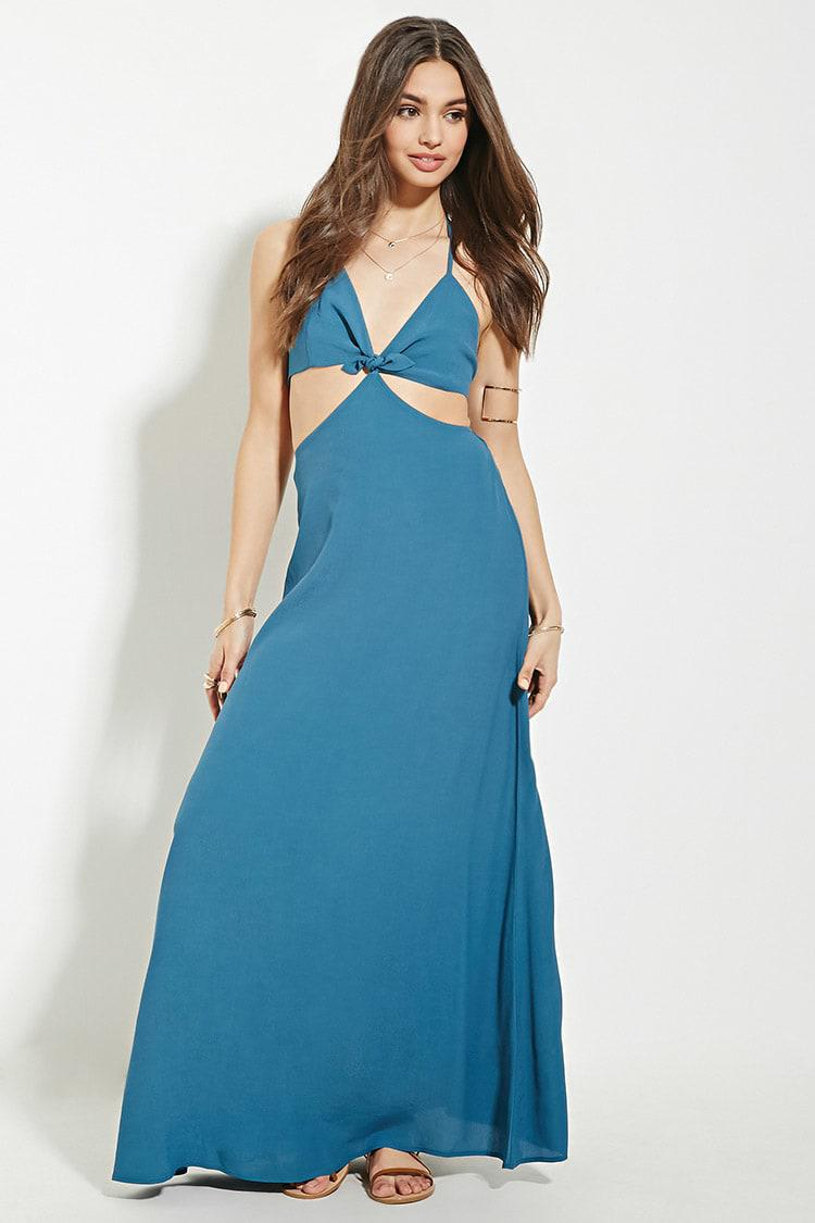 Lyst - Forever 21 Halter Cutout Maxi Dress in Blue