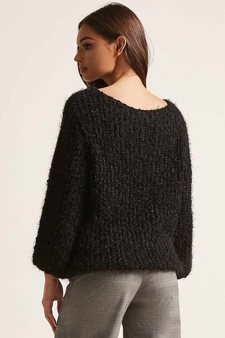 Forever 21 Fuzzy Sweater-knit Top in Black | Lyst