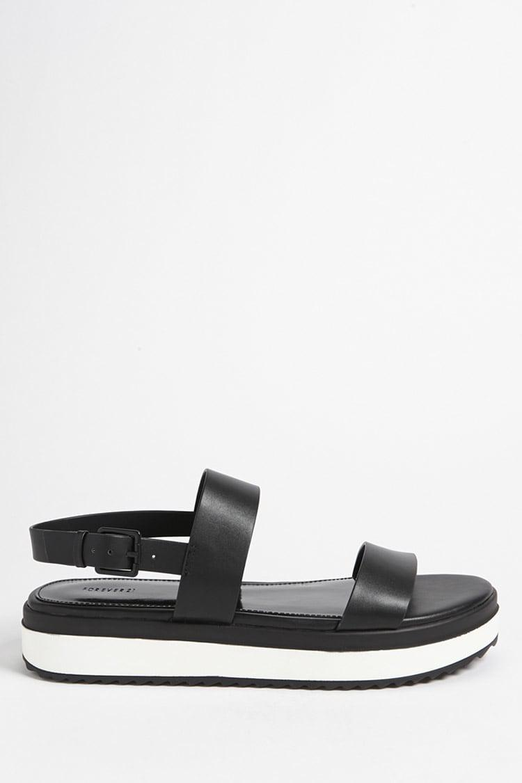 Lyst - Forever 21 Faux Leather Platform Sandals in Black 452e305a7e