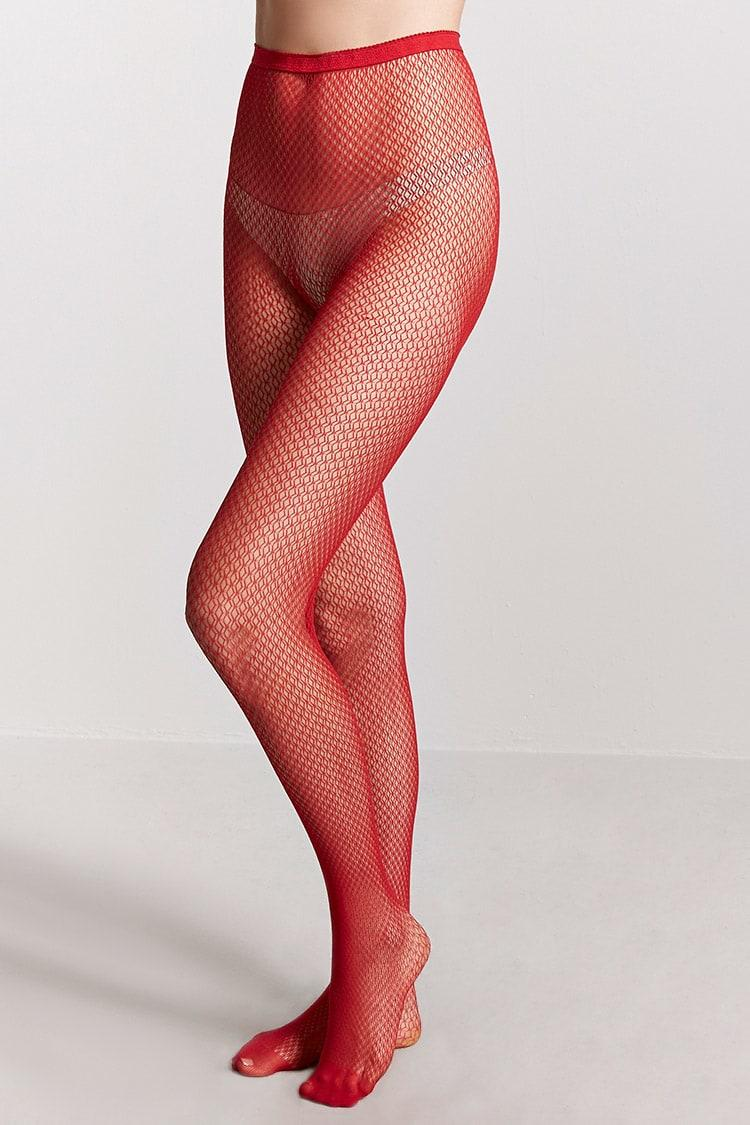4e833cba4d44c Forever 21 Sheer Fishnet Tights in Red - Lyst