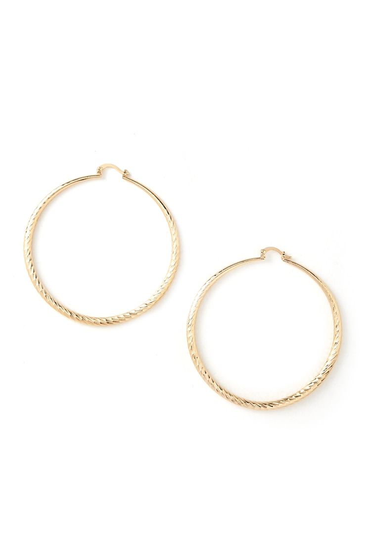 Forever 21 etched hoop earrings in metallic gold lyst for Forever 21 jewelry earrings