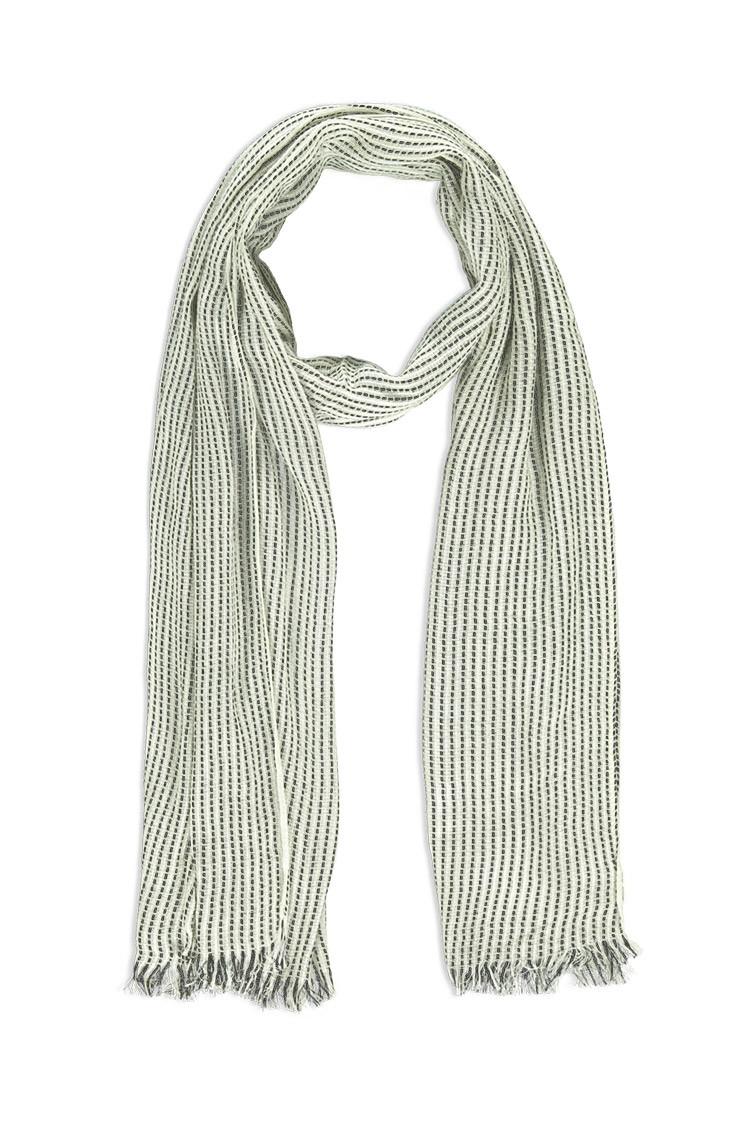 forever 21 frayed stripe scarf in black lyst