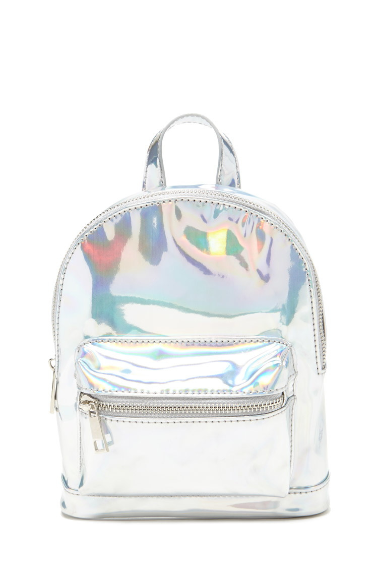 Forever 21 Holographic Mini Backpack In Metallic Lyst