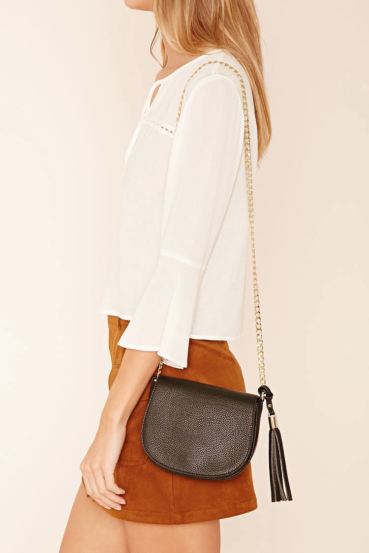 Forever 21 Faux Leather Crossbody Bag In Black | Lyst