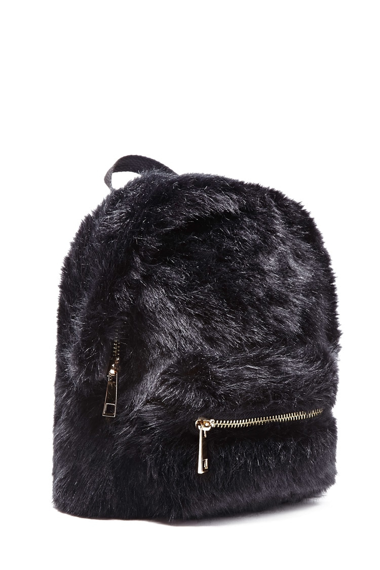 782dc9827f Lyst - Forever 21 Faux Fur Mini Backpack in Black