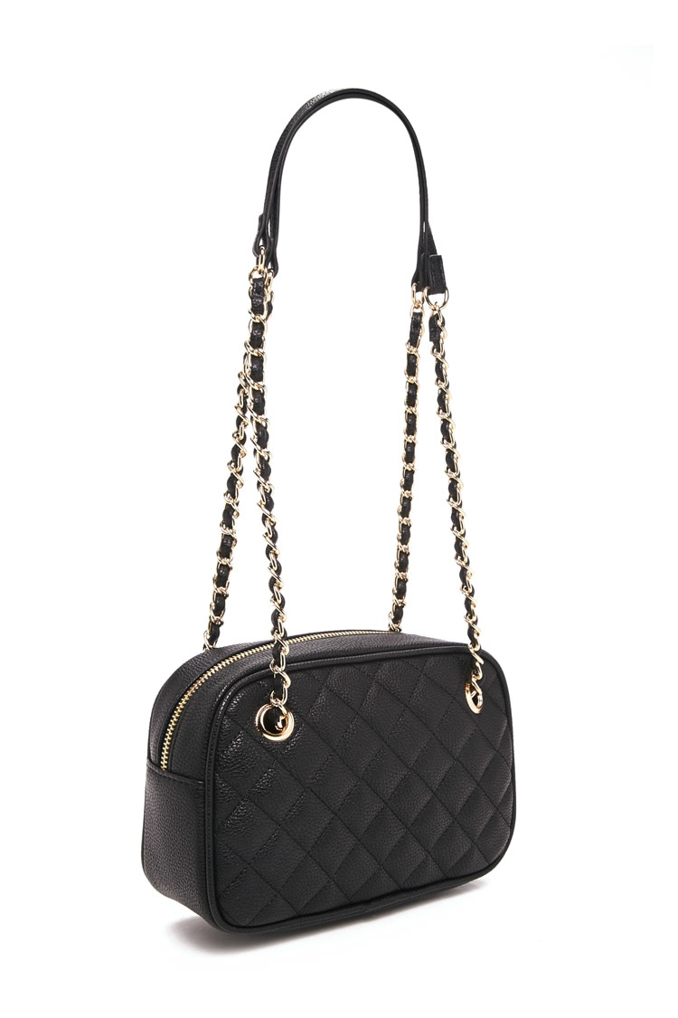 forever 21 handbags lyst forever 21 quilted faux leather bag in black 30621