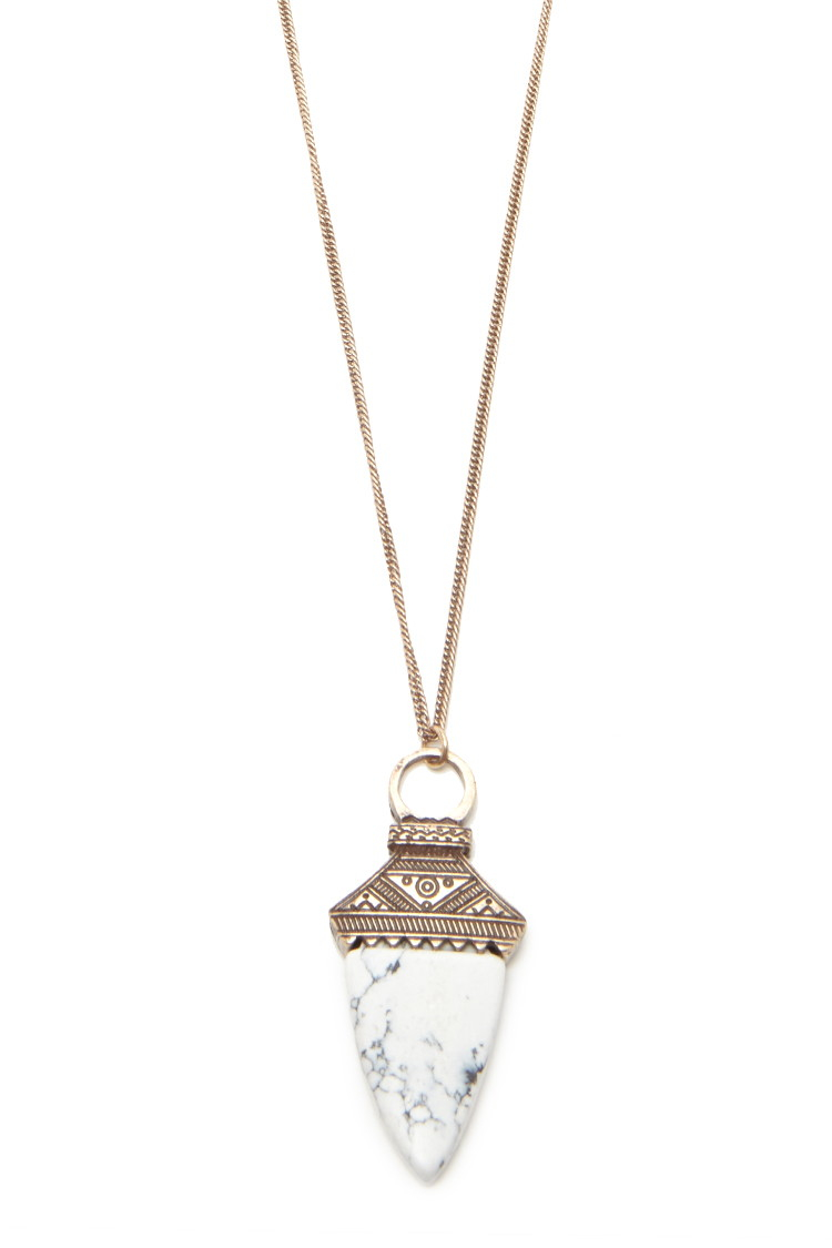 Forever 21 Faux Stone Longline Necklace In Metallic Lyst