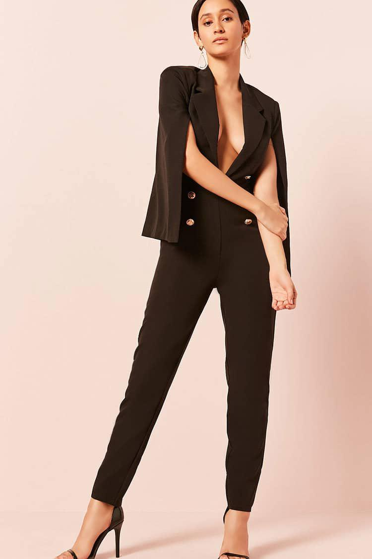 cbe08a31bc2 Lyst - Forever 21 Double-breasted Cape Jumpsuit in Black