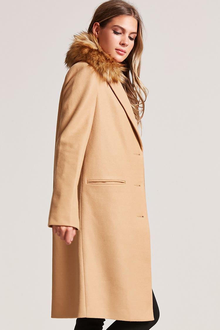 factory authentic top design pre order Forever 21 Natural Faux Fur Trimmed Coat
