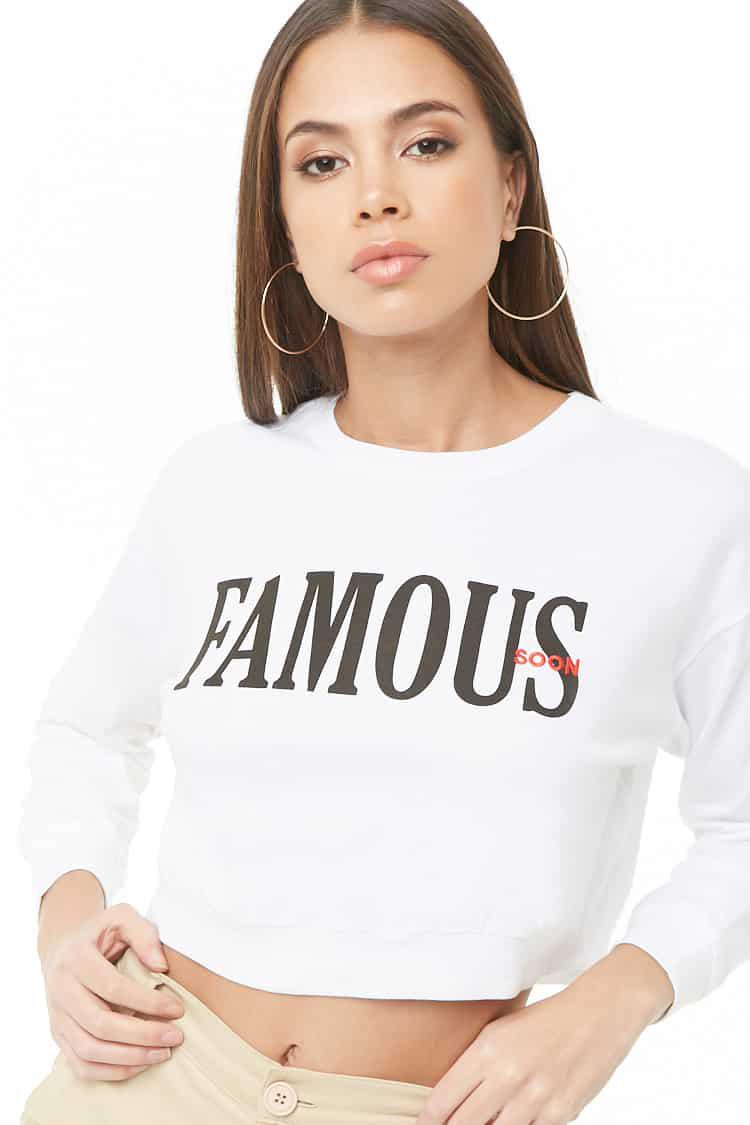 Forever 21 Cotton Embroidered Graphic Tee in White/Red