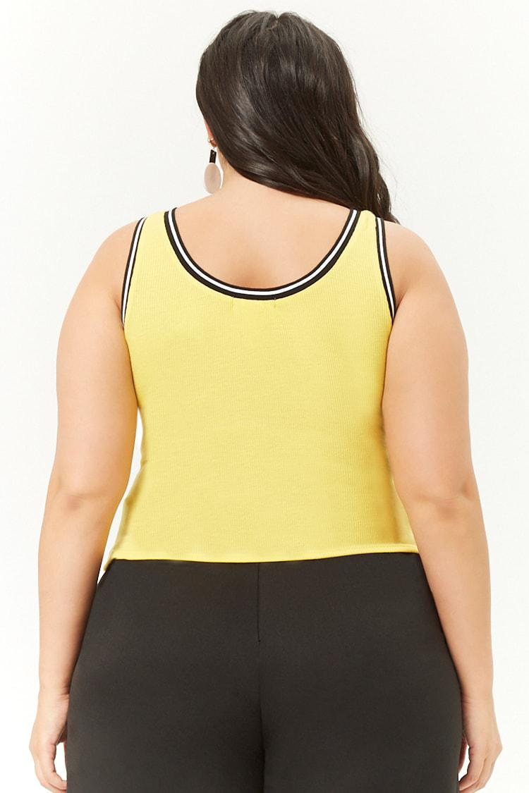 59a9c6ec707 Forever 21 Women s Plus Size Ribbed Contrast-trim Tank Top in Yellow ...