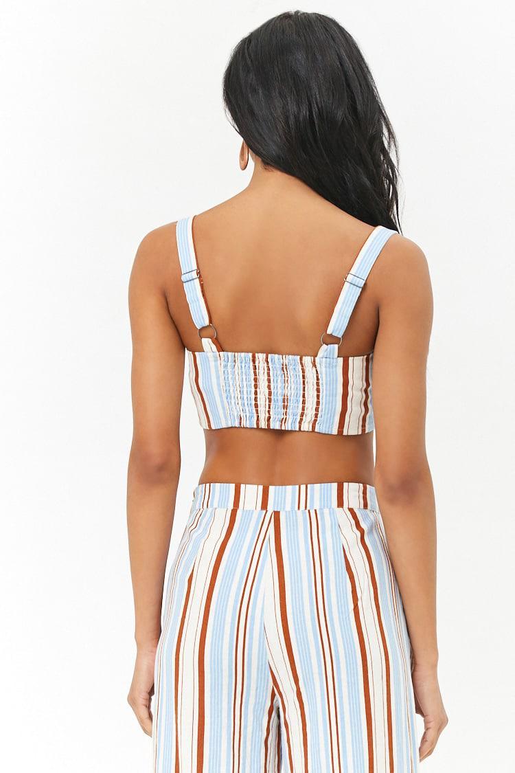 2109c49b2b Forever 21 Women s Striped Linen-blend Crop Top in Blue - Lyst