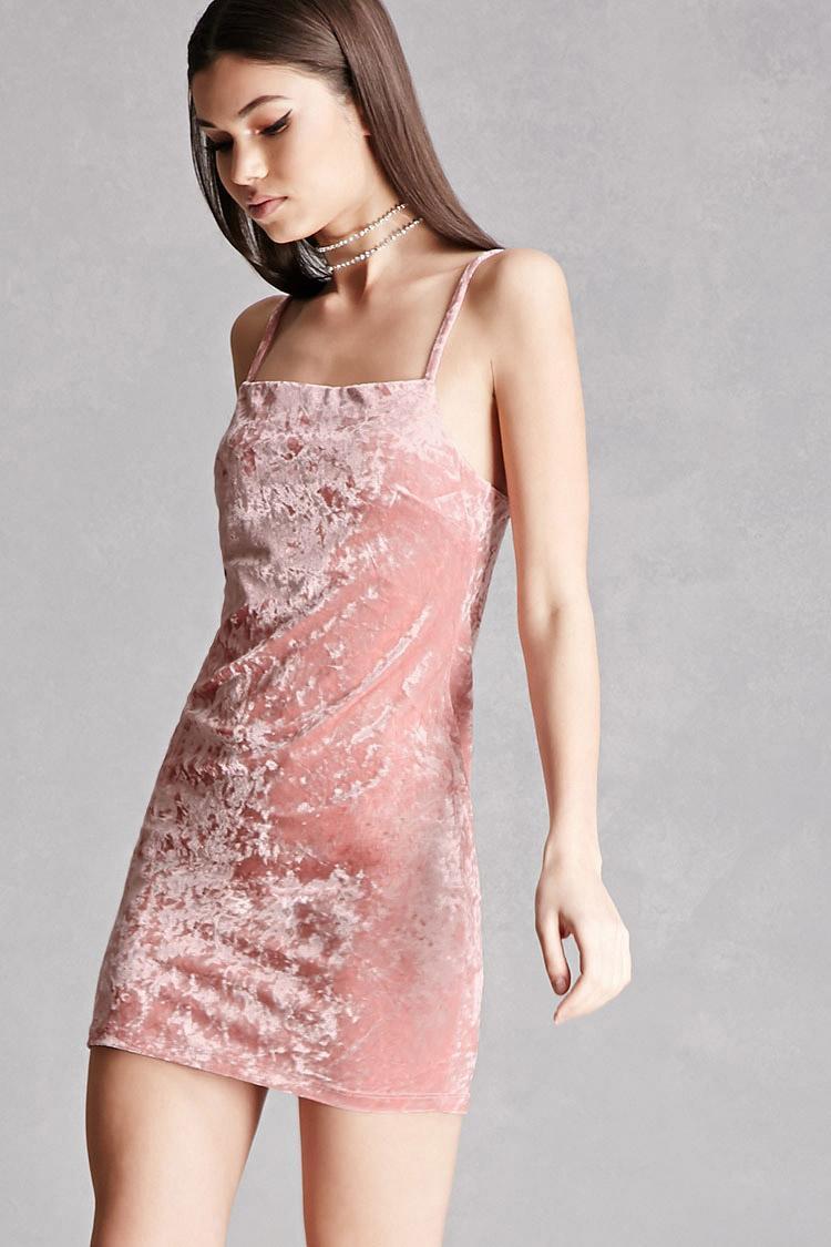 forever 21 crushed velvet mini dress in pink lyst. Black Bedroom Furniture Sets. Home Design Ideas