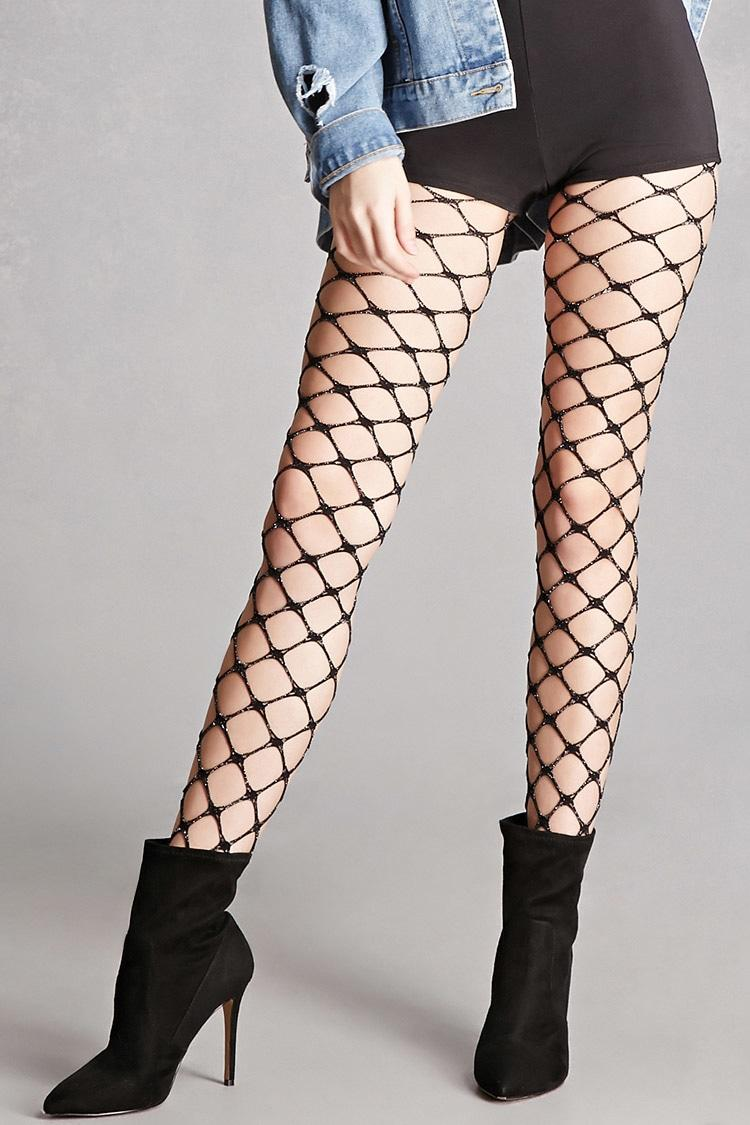 Forever 21 chain link fishnet tights in black lyst for Thigh jewelry forever 21