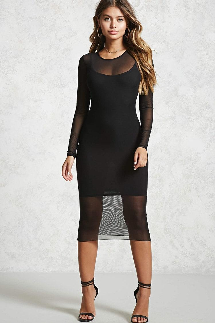 lyst forever 21 mesh longsleeve dress in black