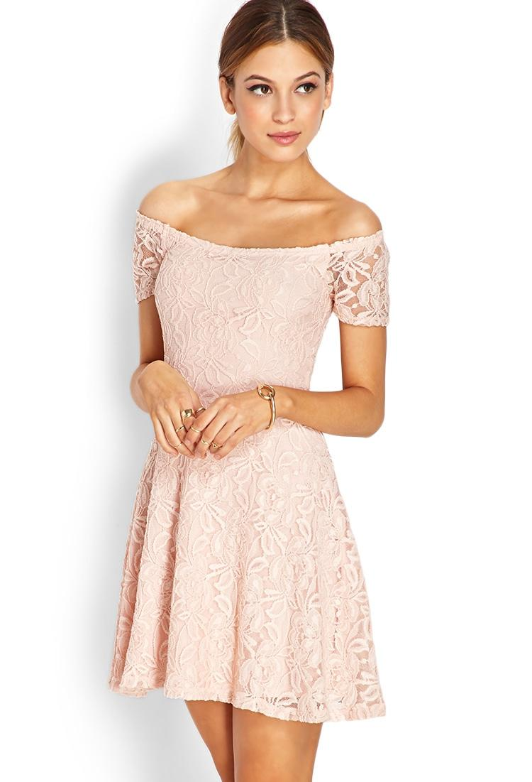 Lyst Forever 21 Sweetheart Lace Off The Shoulder Dress