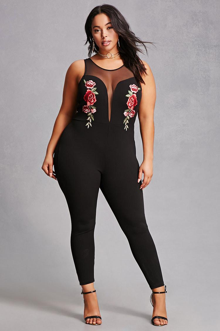 Lyst forever 21 plus size embroidered jumpsuit in black for Thigh jewelry forever 21