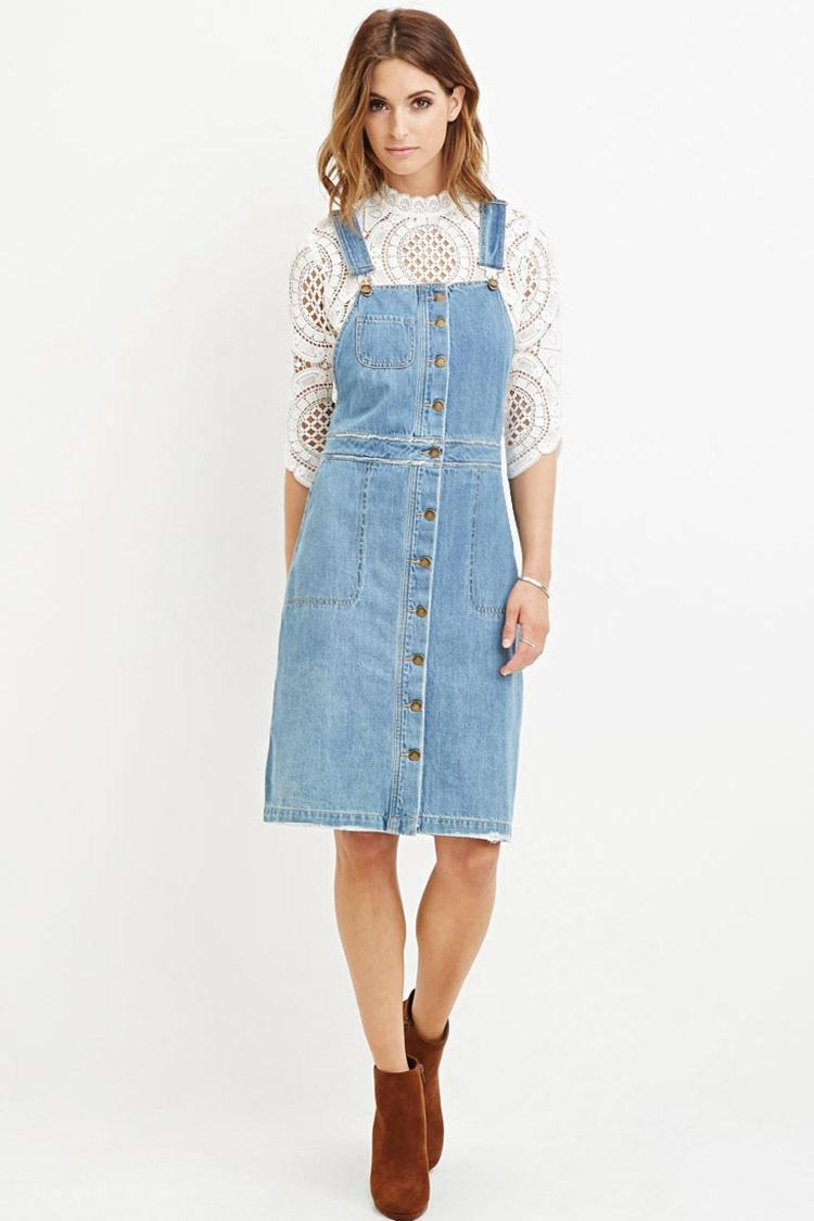 Forever 21 Buttoned Overall Dress in Blue | Lyst