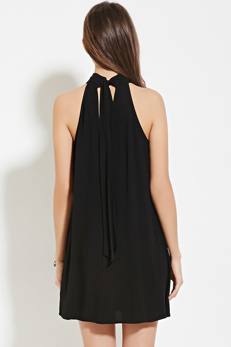 Lyst Forever 21 Contemporary Pintucked Dress In Black