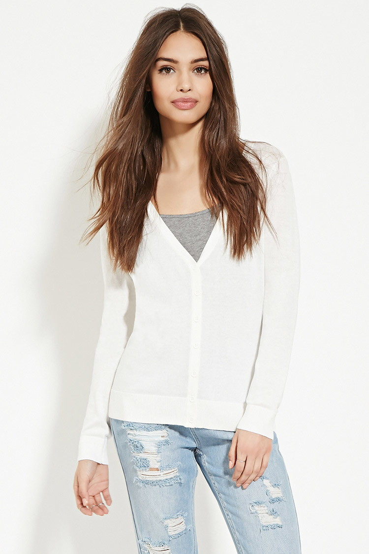 Forever 21 Classic Cardigan in White | Lyst