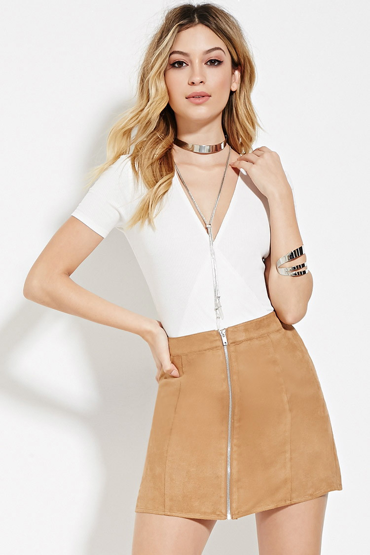 Forever 21 Faux Suede Mini Skirt in Brown | Lyst