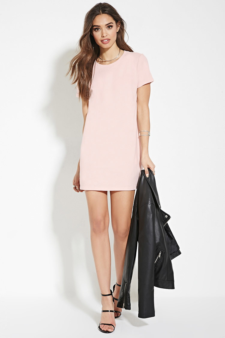 4a8c7ab4dcf6b Forever 21 Cotton T-shirt Dress in Pink - Lyst