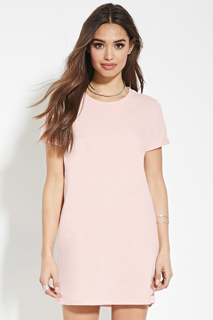 a2a62196f886 Lyst Forever 21 Cotton T Shirt Dress In Pink
