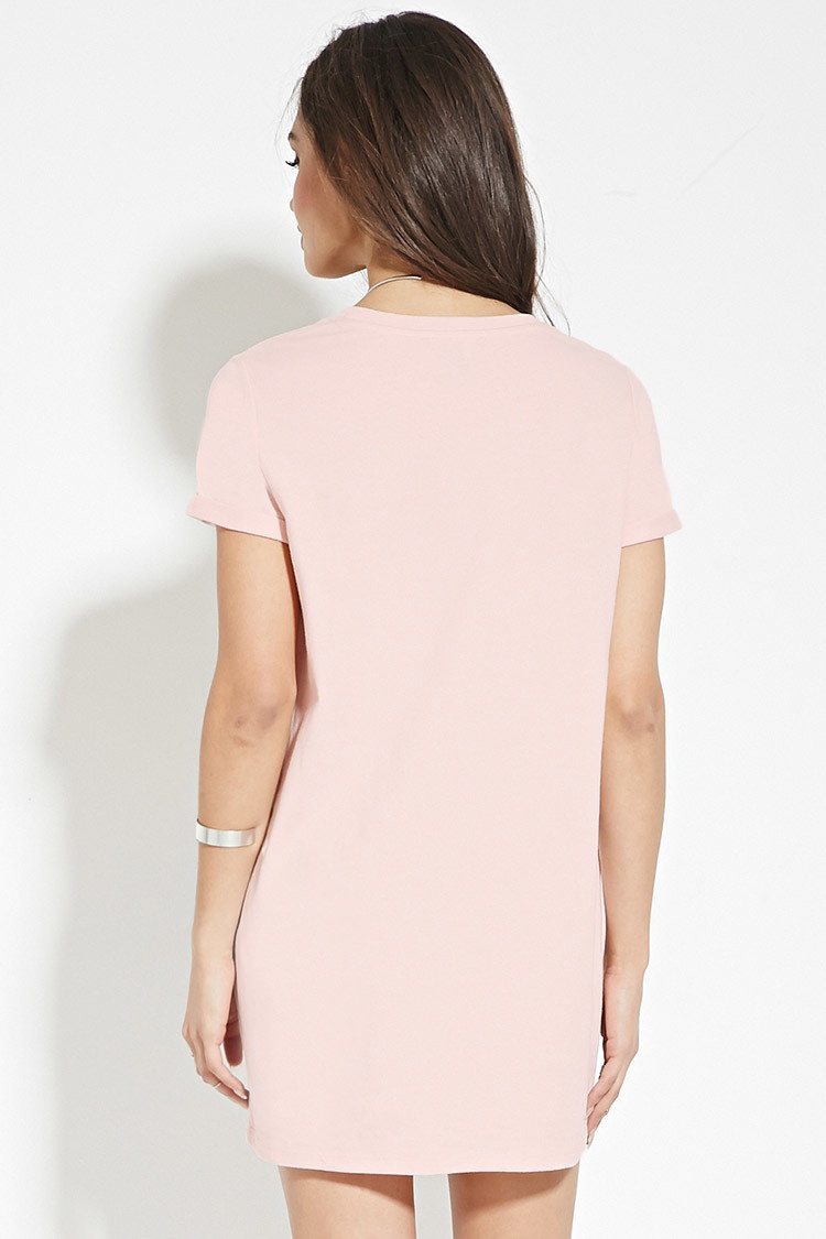 c5f546ba6a3a Lyst - Forever 21 Cotton T-shirt Dress in Pink